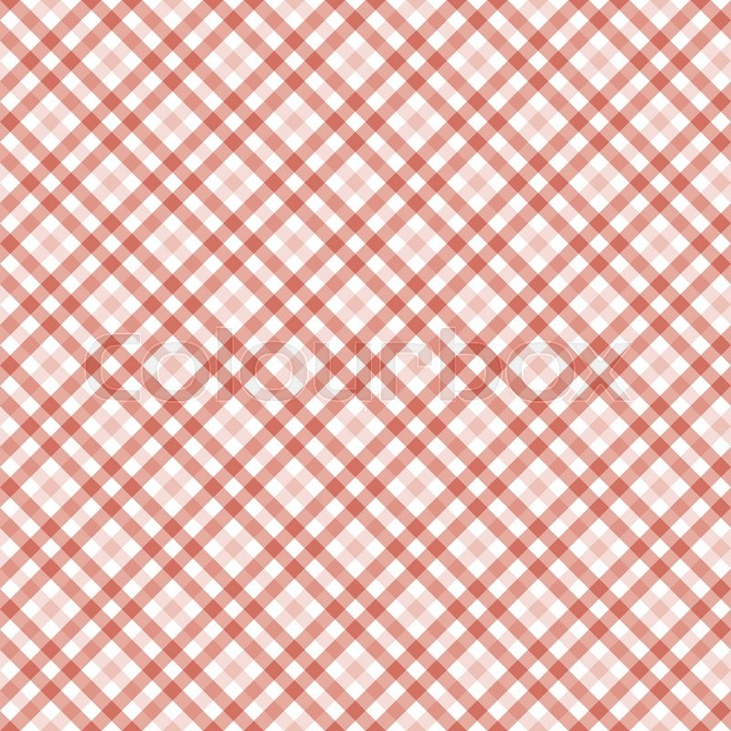 Seamless Red Colored Checkered Table Cloth Background, Vector