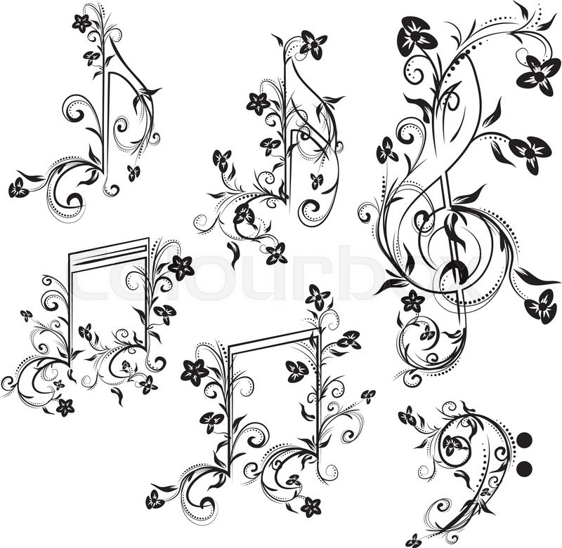 Set Of Music Notes With Floral ...