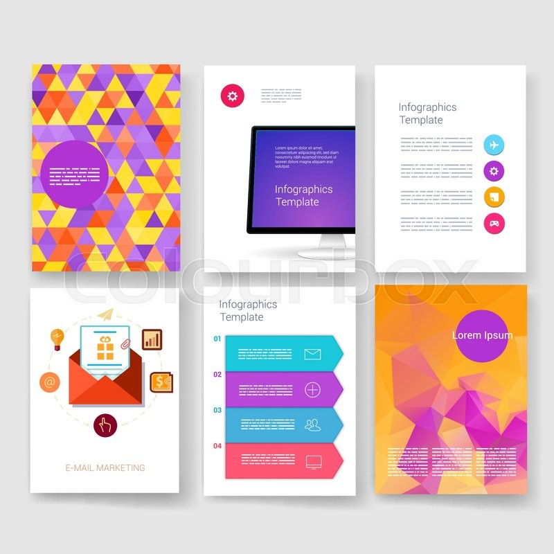 templates design set of web mail brochures mobile technology and infographic concept modern flat and line icons app ui interface mockup