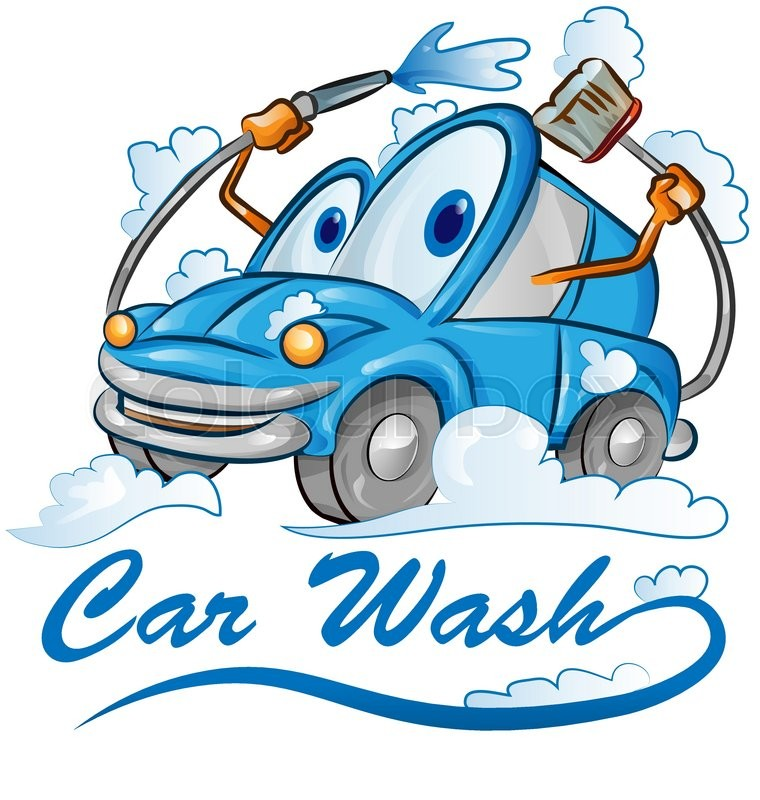 car wash cartoon isolated on white stock vector colourbox rh colourbox com car wash cartoon fish car wash cartoon pictures free