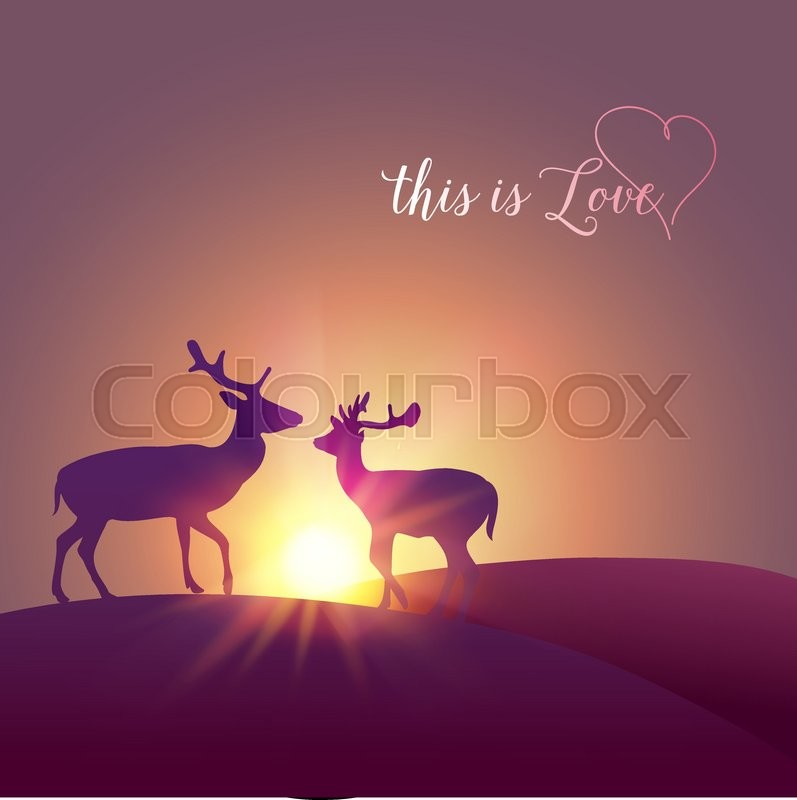 Deer Silhouette Over Sunset Stock Vector Colourbox