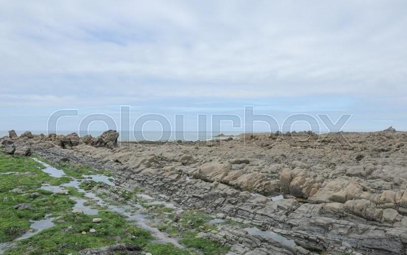 Blegberry Beach on the Atlantic Coast at Hartland Abbey on the North Coast of Devon, England, UK, stock photo