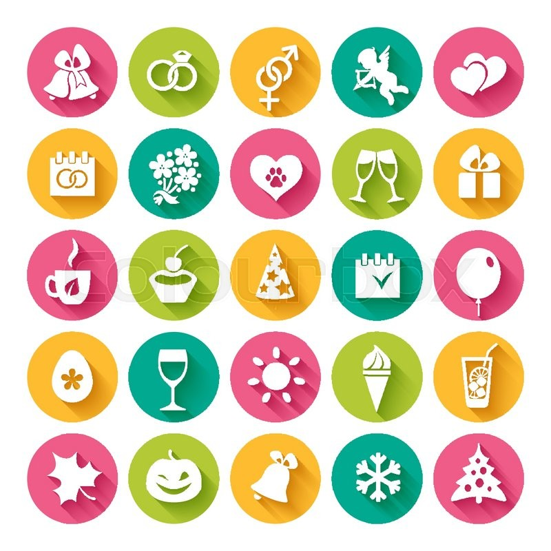 Set of 25 flat icons and design elements for seasonal holidays, birthday and wedding in bright multi-colored circles on the white background, vector