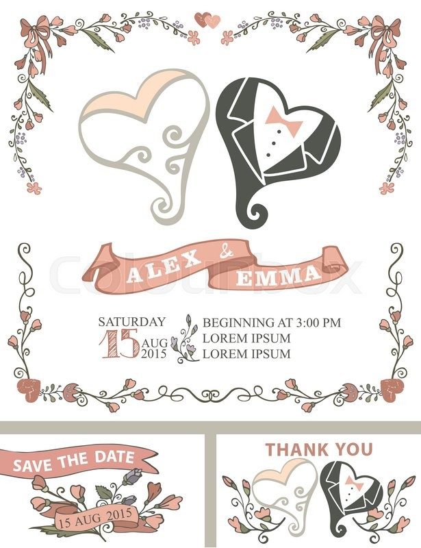 Wedding Invitation Template Set With