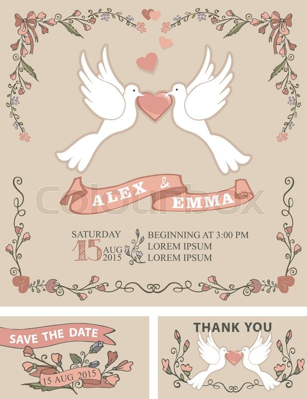 Wedding invitation template set with floral doodle decor,border ...