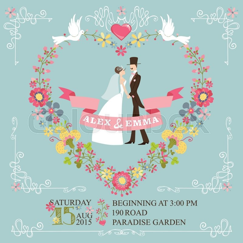 Wedding invitation with floral wreath in heart form,cartoon couple ...
