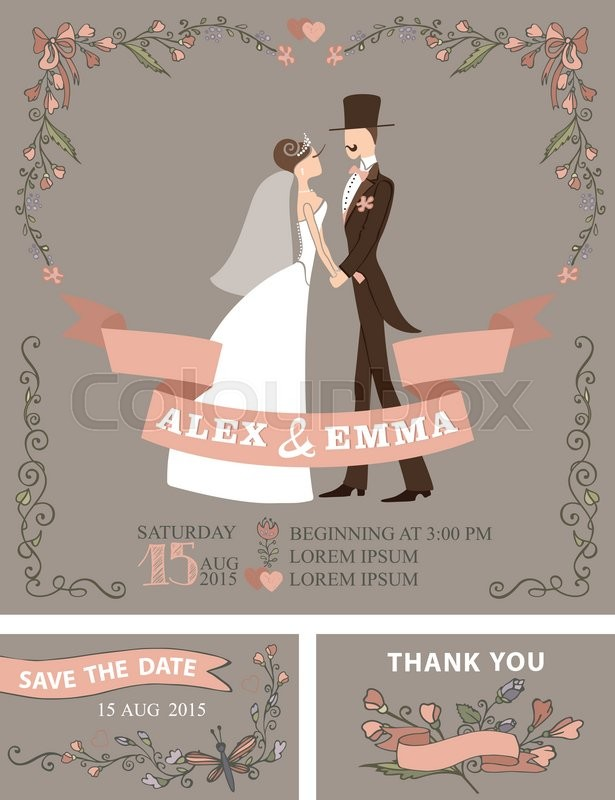 Wedding invitation with Cute cartoon couple groom and bride in ...