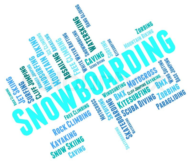 Snowboarding Word Represents Winter Sport And Boarder, stock photo