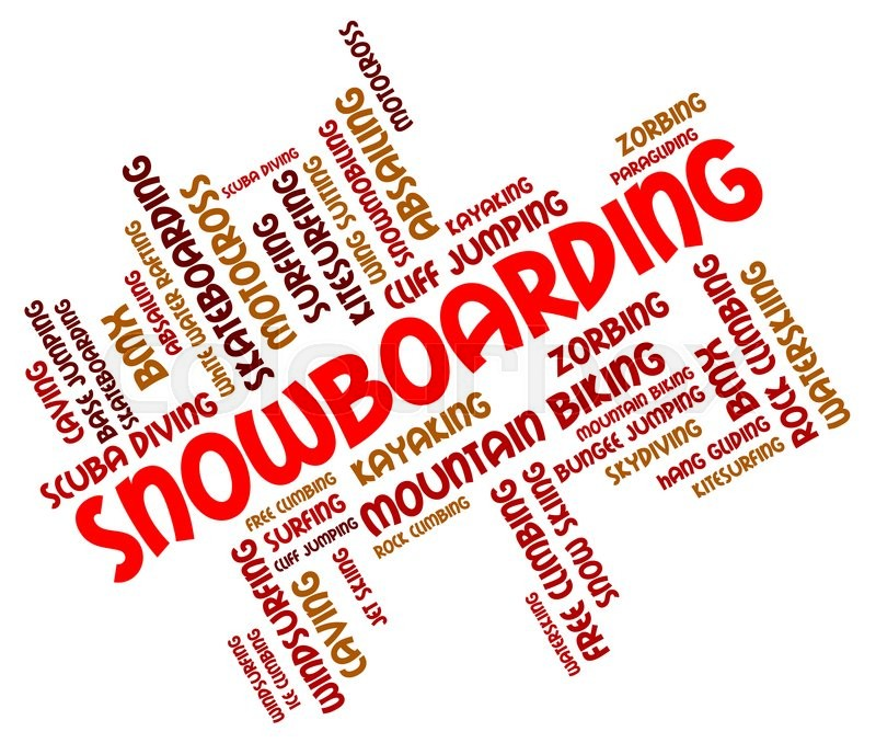 Snowboarding Word Represents Winter Sport And Boarders, stock photo