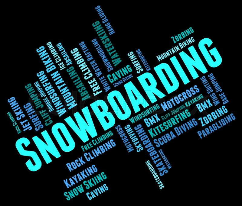 Snowboarding Word Showing Extreme Sports And Snowboarder , stock photo