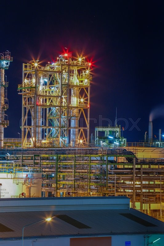 Night scene of Petroleum plant with beautiful lighting on structure, stock photo