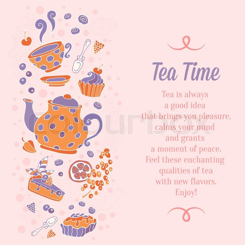 Elegant set of hand drawn tea and cakes banners for business cards ...