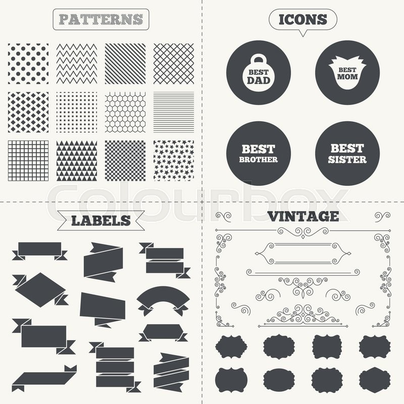 Seamless Patterns Sale Tags Labels Best Mom And Dad Brother And