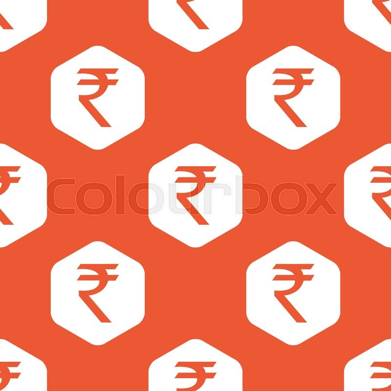 Indian Rupee Symbol In White Hexagon Repeated On Orange Background