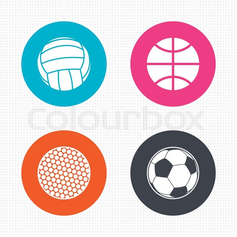 Circle buttons. Sport balls icons. Volleyball, Basketball, Soccer and Golf signs. Team sport games. Seamless squares texture. Vector, vector