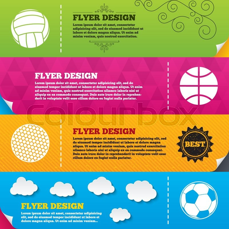 Flyer brochure designs. Sport balls icons. Volleyball, Basketball, Soccer and Golf signs. Team sport games. Frame design templates. Vector, vector