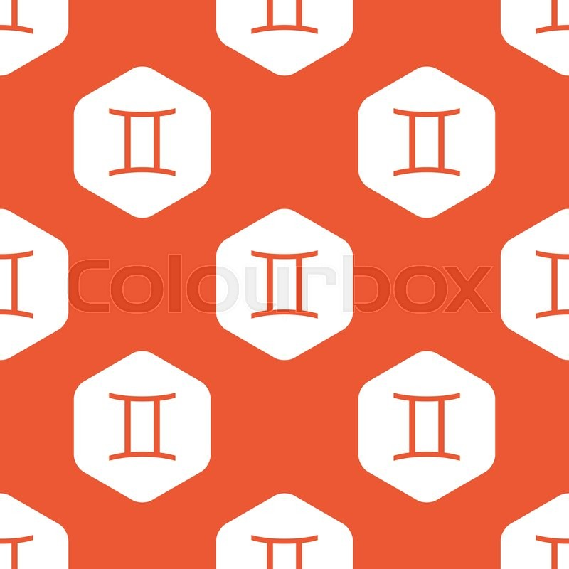 Image Of Gemini Zodiac Symbol In White Hexagon Repeated On Orange