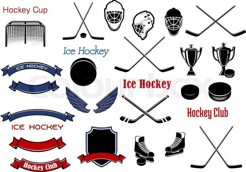 Ice Hockey And Heraldic Symbols For Stock Vector