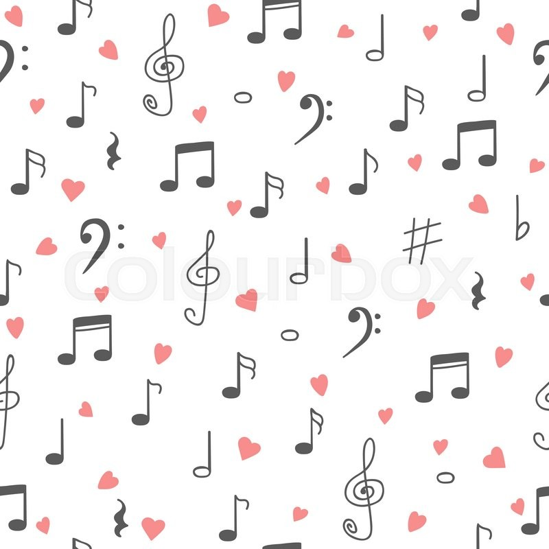 I Love Music Music Seamless Pattern Stock Vector Colourbox