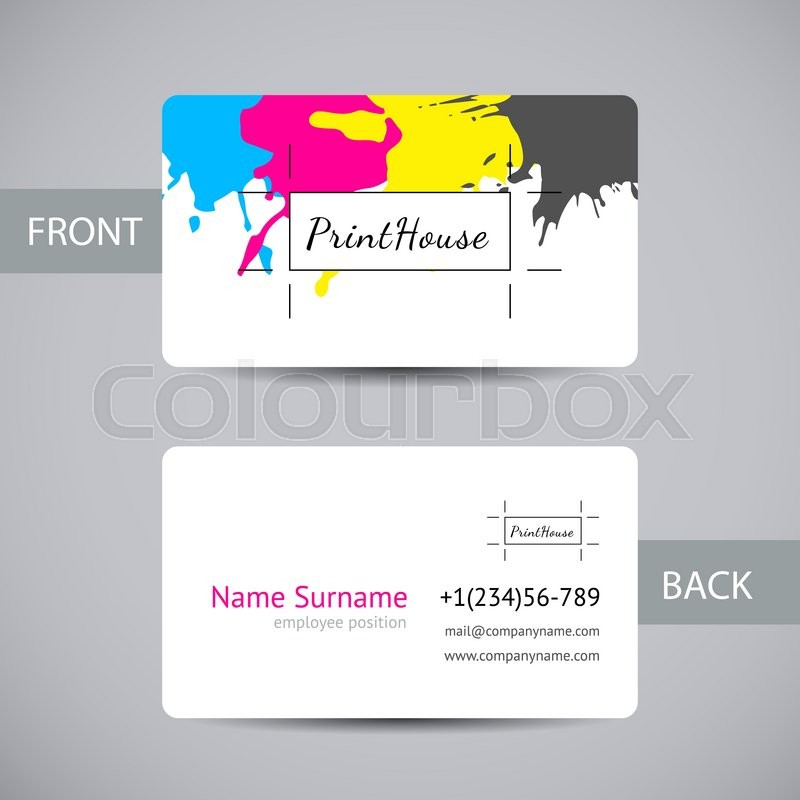 Business card template with ink splashes elements in a CMYK color ...
