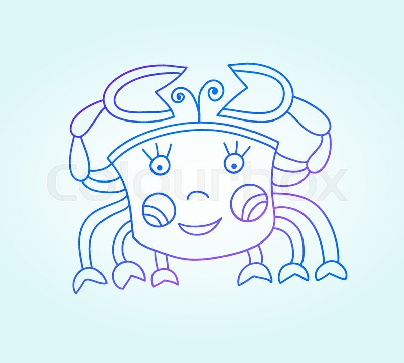 Blue line drawing of sea animal, underwater decorative crab, graphic design element for print or web, vector illustration eps10, vector