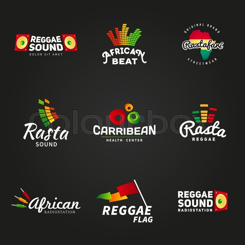Set of african rastafari sound vector logo designs. Jamaica reggae ...