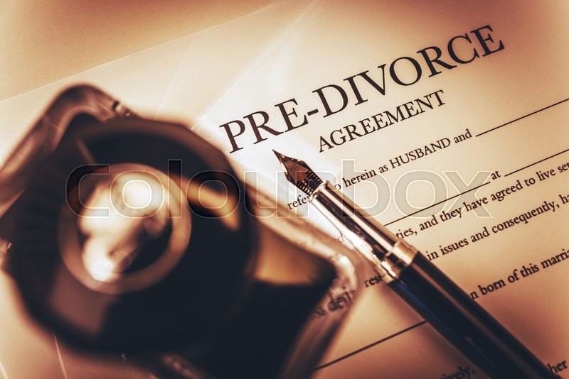 Pre Divorce Agreement Document, Ink-Bottle and the Fountain Pen. Divorce Documentation Photo Concept, stock photo