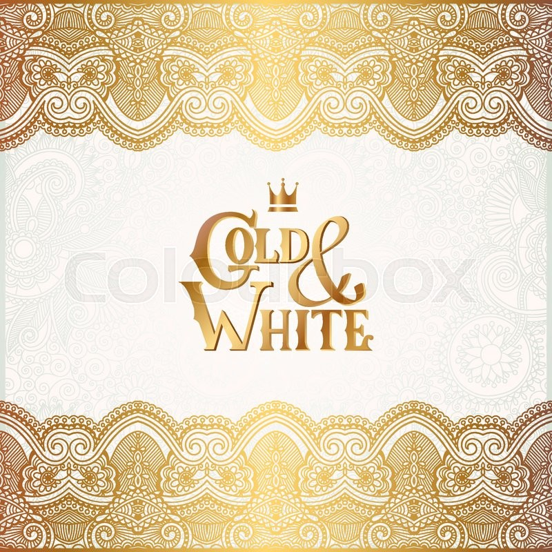 Elegant floral ornamental background with inscription gold and white elegant floral ornamental background with inscription gold and white golden decor on light pattern can be use for invitation wedding greeting card stopboris Gallery