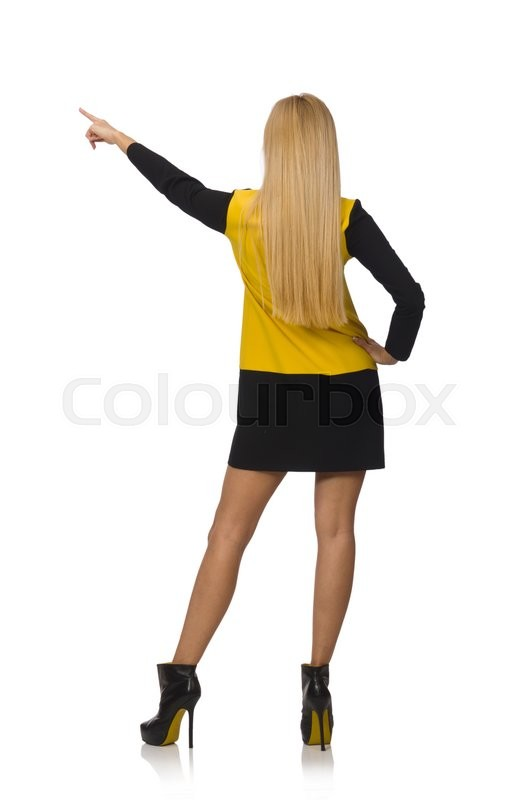 Blond hair girl in yellow and black clothing isolated on ...