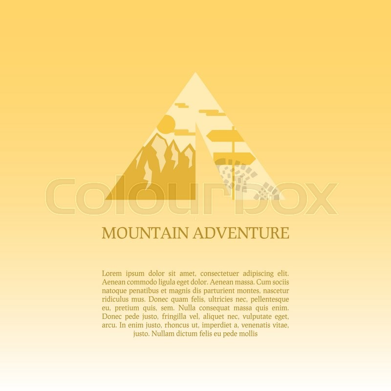 Adventure symbol vector concept. Tent with landscape. Unique icon idea for recreation theme. Can be used as banner poster flyer etc.  sc 1 st  Colourbox & Mountain camp logo design template. Adventure symbol vector ...