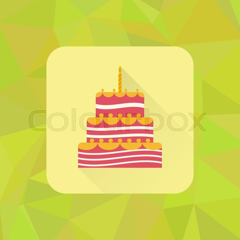 Birthday cake sign icon on polygonal triangle background Cake with