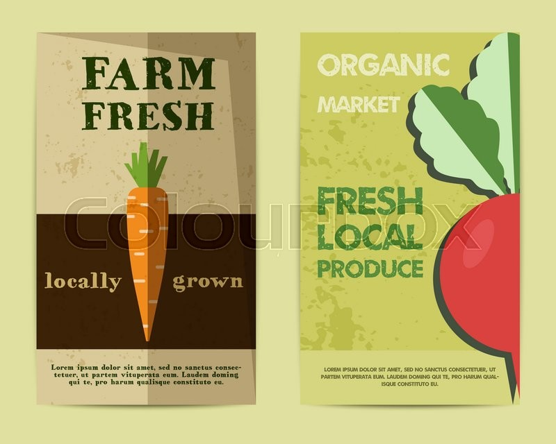 Set Of Stylish Farm Fresh Flyer, Template Or Brochure Design With