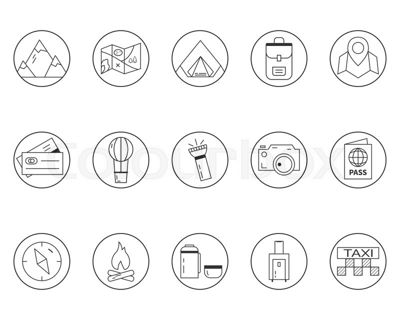 Summer camping and travel outline icons set. Outdoor ...