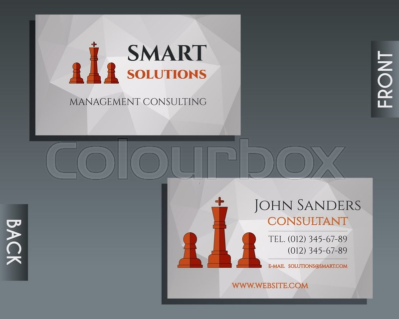Business and management consulting visiting card template. Chess ...