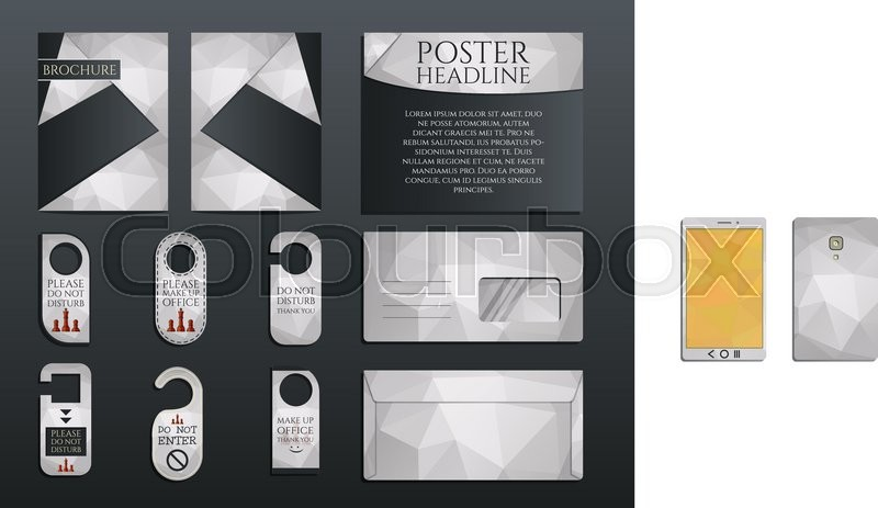 Business corporate branding identity set brochure and flyer design template envelope stickers in polygonal style concerning to management