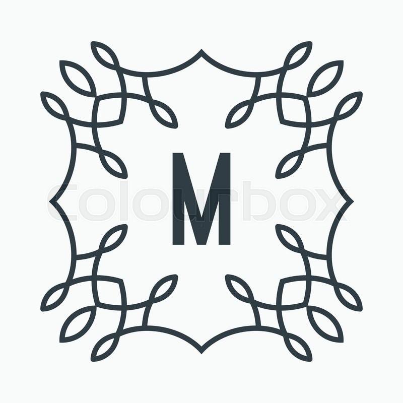 Black And White Letter M Lettering, Design. Monogram, Sign