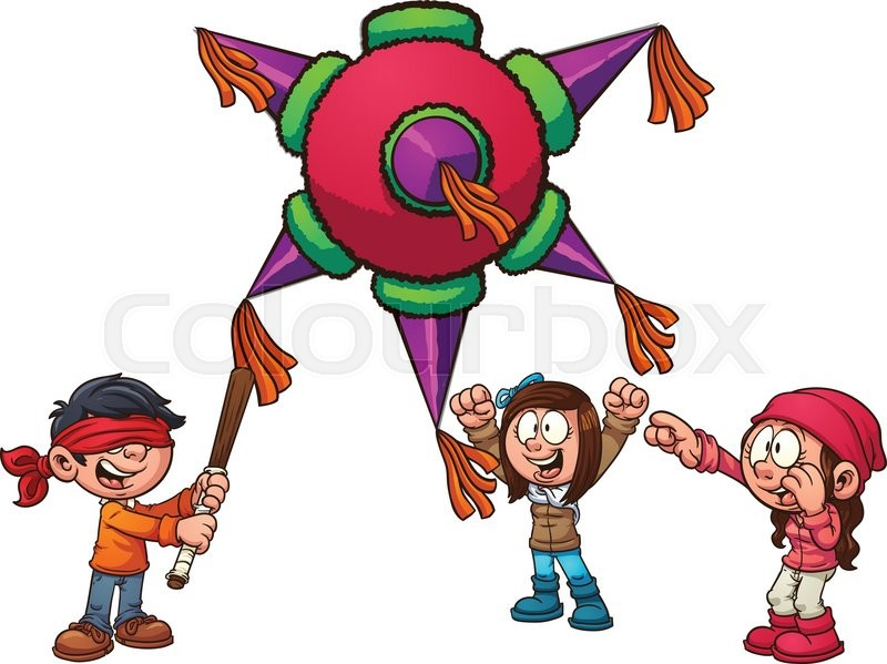 kids playing with pi ata vector clip art illustration with simple rh colourbox com mexican pinata clipart pinata clipart transparent