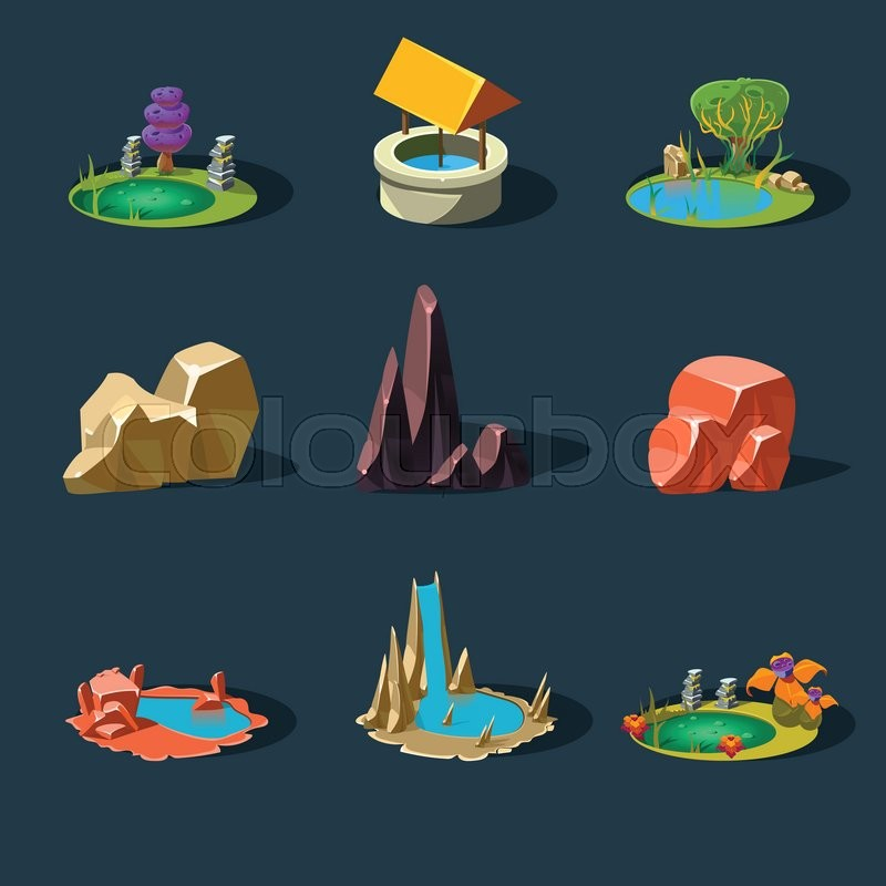 Elements Landscape ,Rocks ,Water Well ,Waterfall ,Lake, Vector Illustration, vector
