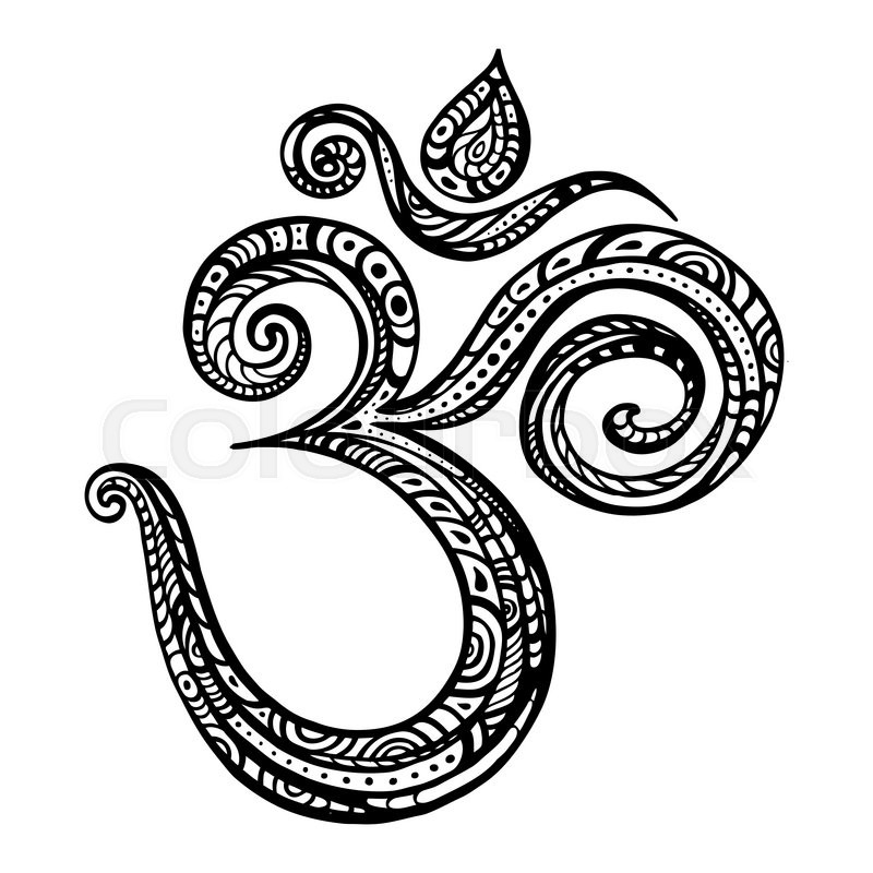 Om Symbol Aum Ohm Hand Drawn Detailed Vector Illustration Stock