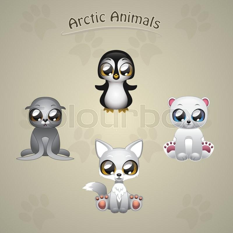 cute arctic animals collection vector illustration art stock