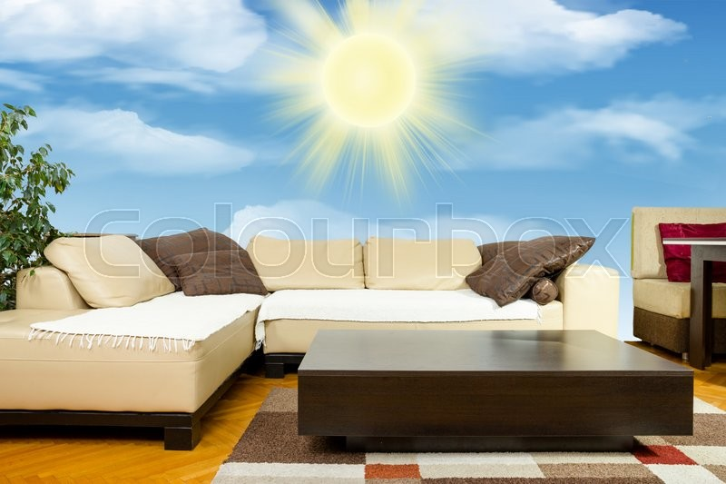 Stock Image Of Empty Living Room With Angular Sofa Dinner Wagon Or Low