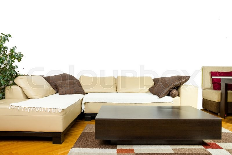 Empty Living room with angular sofa dinnerwagon plant curtains