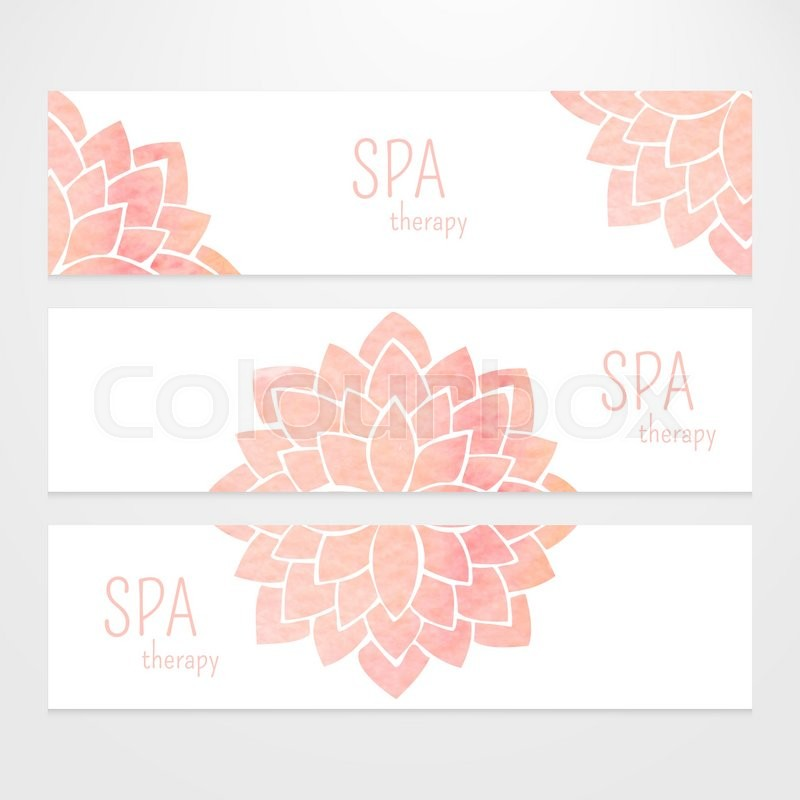 A set of vector templates of business banners. Watercolor pink lotus ...