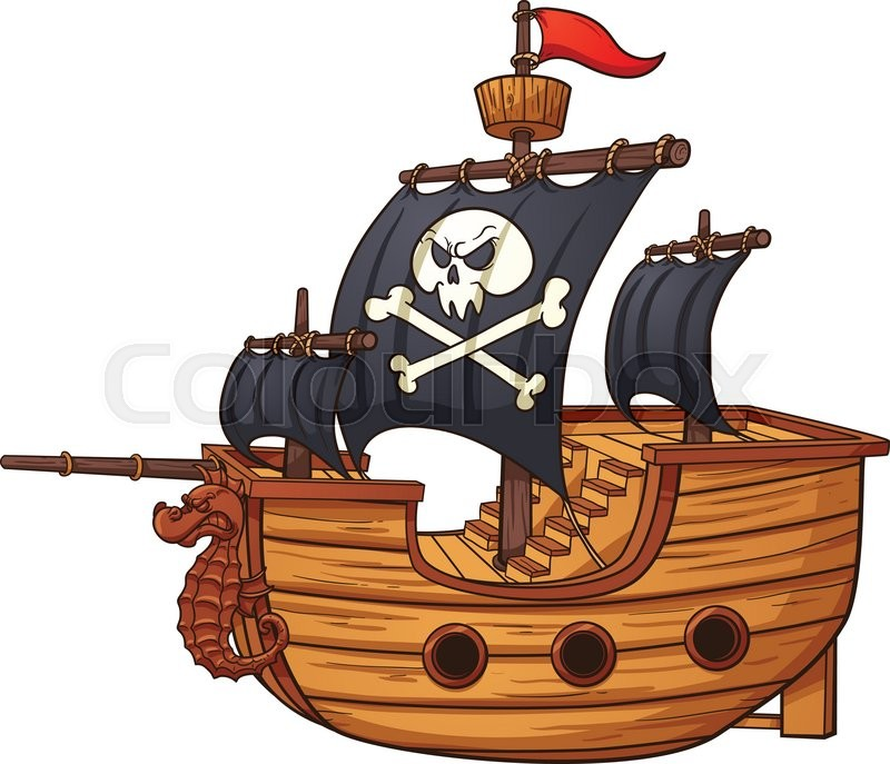 cartoon pirate ship vector clip art illustration with simple rh colourbox com pirate ship clipart pirate ship clip art black and white