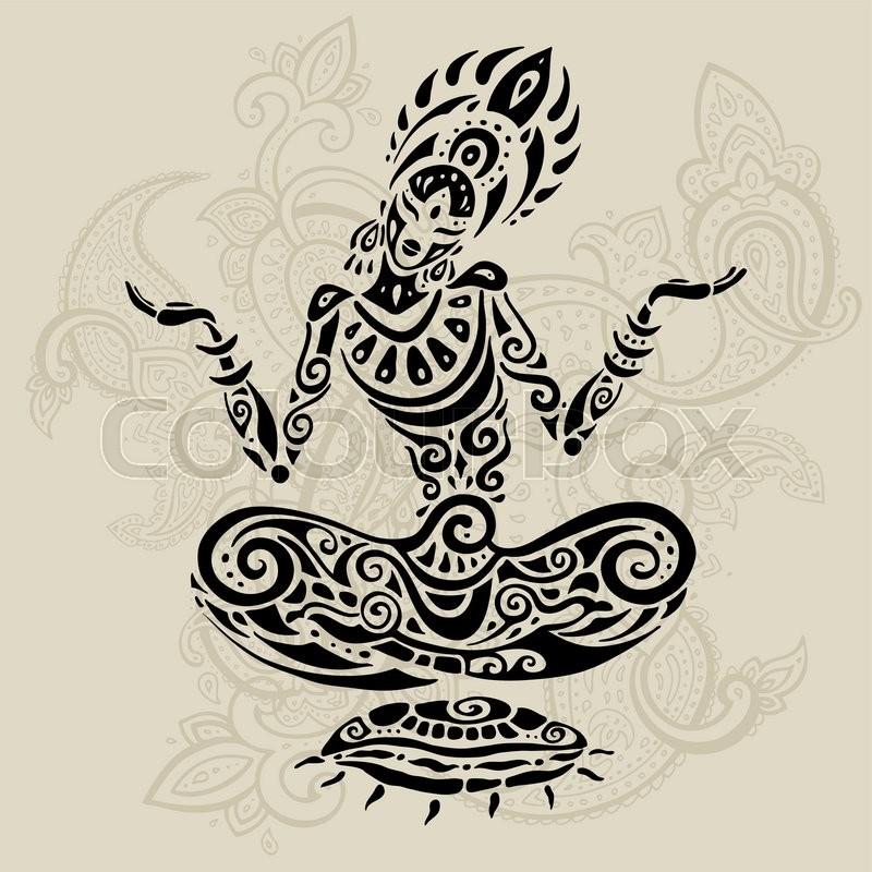 Yoga Meditation lotus pose  Hand Drawn     | Stock vector