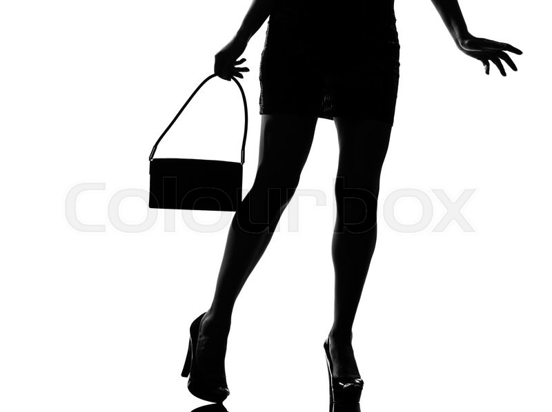 Stylish Sexy Silhouette Beautiful Woman Legs Walking Close Up Details Walking On Studio Isolated White Background Stock Photo Colourbox