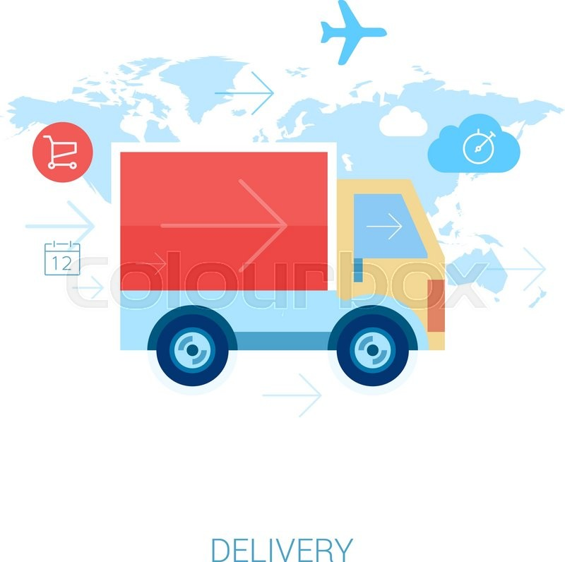 Set of flat design concept icons for online shopping and purchase set of flat design concept icons for online shopping and purchase delivery lorry or truck over world map stock vector colourbox gumiabroncs Gallery