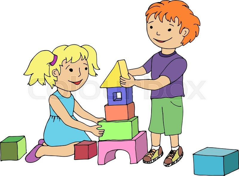 Little Boy Toys Clip Art : Little girl and boy playing with toy stock vector