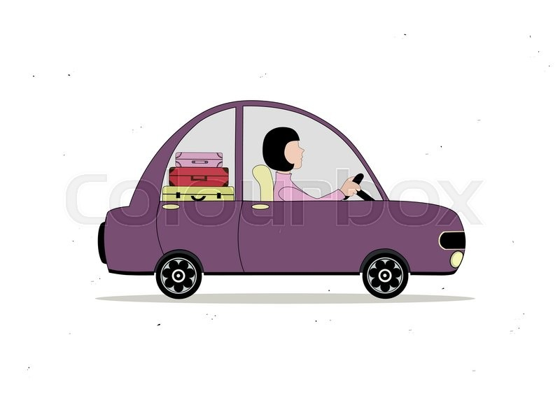 Lilac Simple Cartoon Car Loaded With Suitcases With Woman Driving