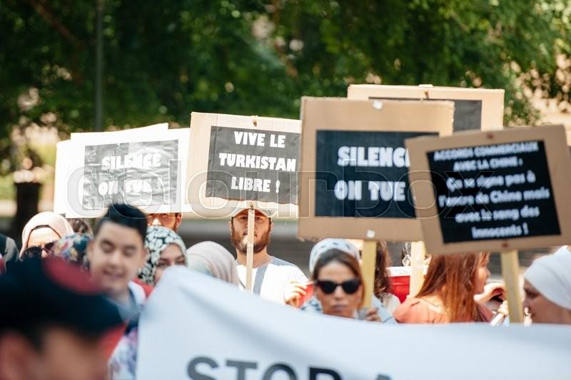 strasbourg france july 11 2015 vive le turkistan libre placard uyghur human rights. Black Bedroom Furniture Sets. Home Design Ideas